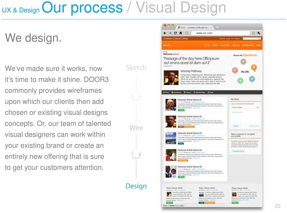 DOOR3 commonly provides wireframes upon which our clients then add chosen or existing visual