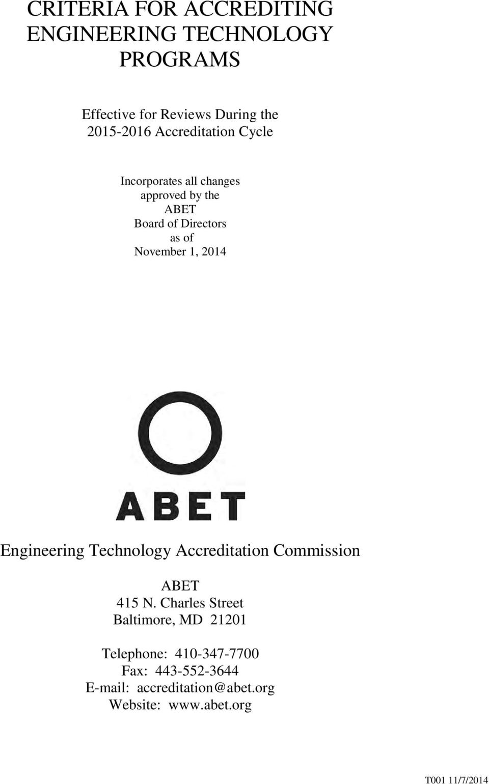 2014 Engineering Technology Accreditation Commission ABET 415 N.