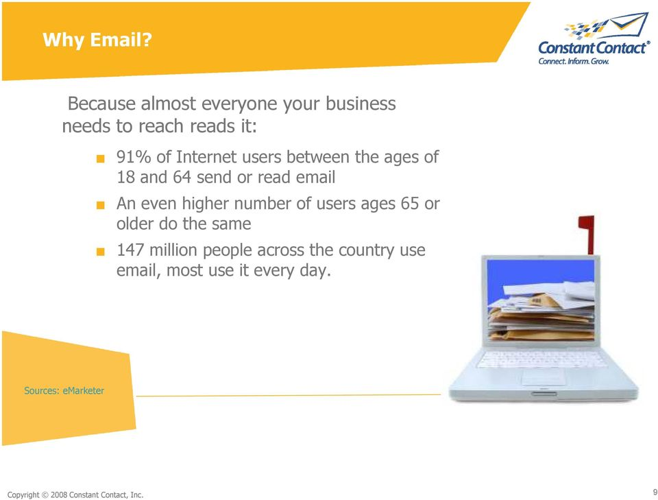 users between the ages of 18 and 64 send or read email An even higher number of