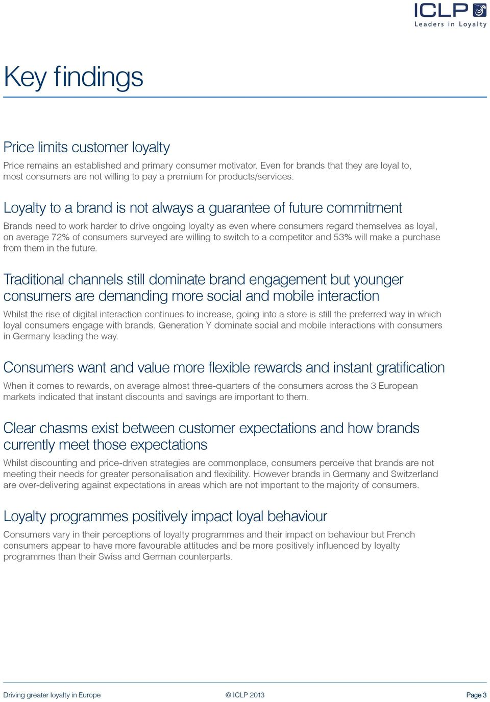 Loyalty to a brand is not always a guarantee of future commitment Brands need to work harder to drive ongoing loyalty as even where consumers regard themselves as loyal, on average 72% of consumers
