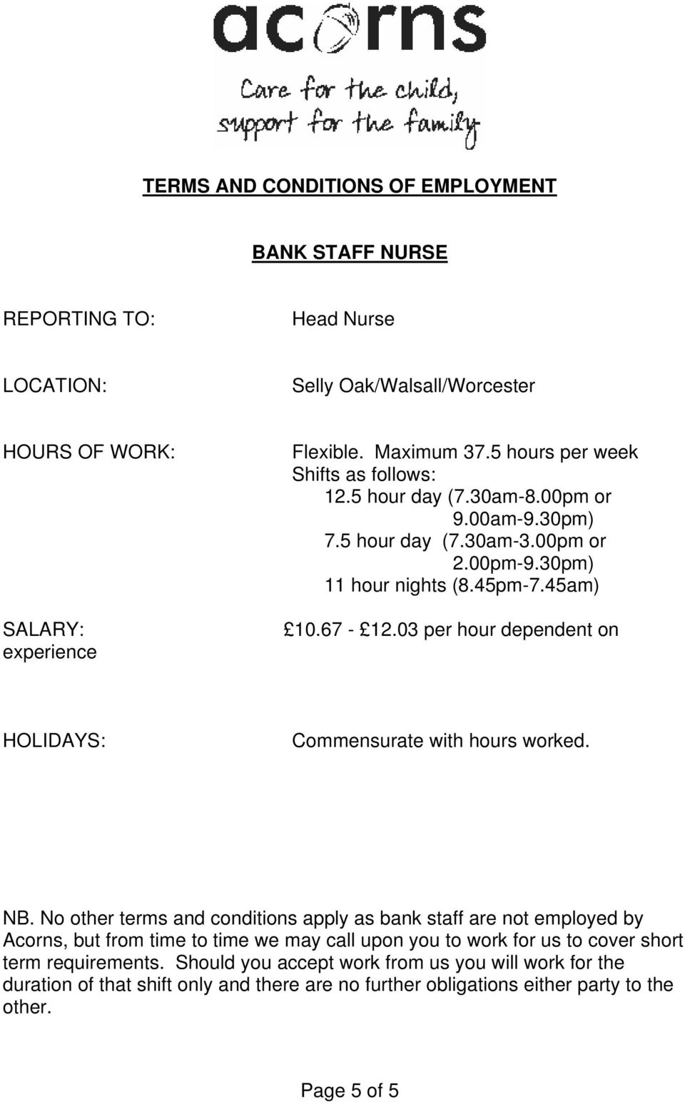 03 per hour dependent on HOLIDAYS: Commensurate with hours worked. NB.