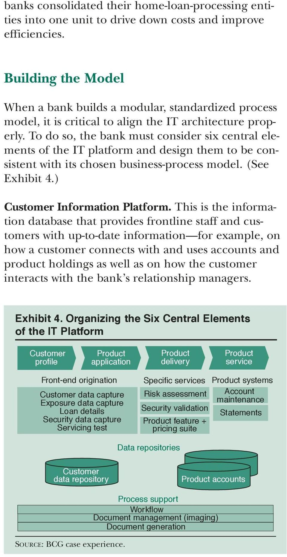 To do so, the bank must consider six central elements of the IT platform and design them to be consistent with its chosen business-process model. (See Exhibit 4.) Information Platform.