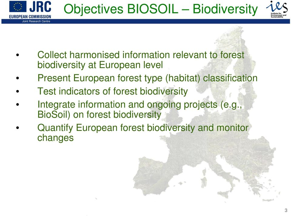 Test indicators of forest biodiversity Integr