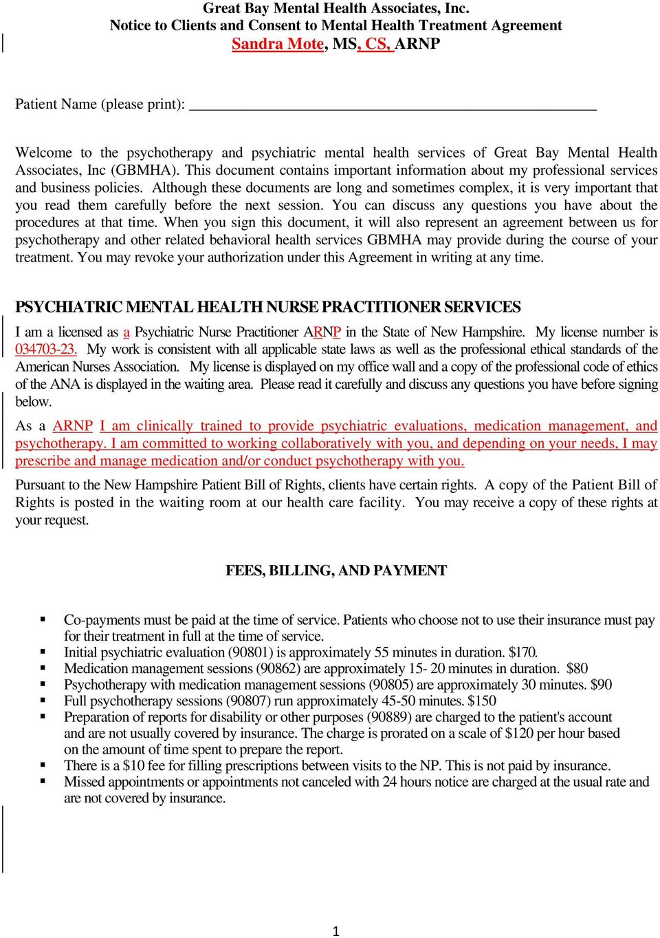 Bay Mental Health Associates, Inc (GBMHA). This document contains important information about my professional services and business policies.