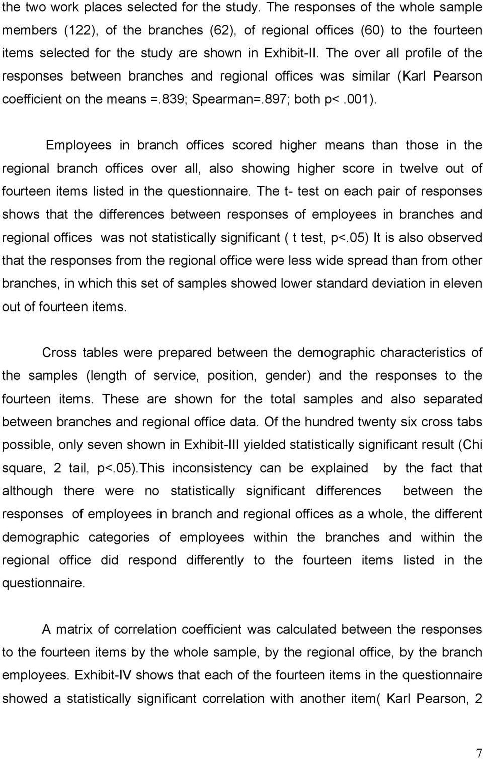 The over all profile of the responses between branches and regional offices was similar (Karl Pearson coefficient on the means =.839; Spearman=.897; both p<.001).