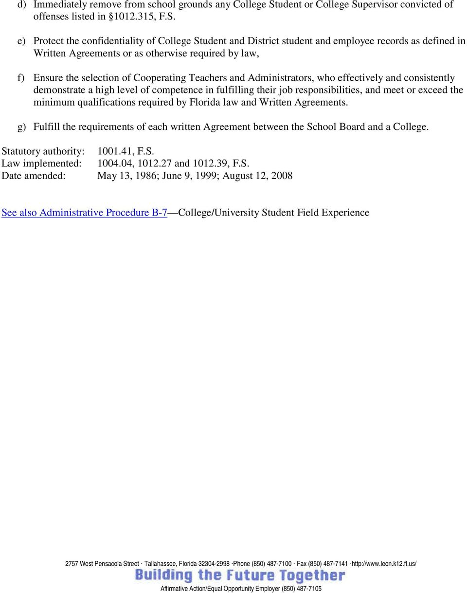 pervisor convicted of offenses listed in 1012.315, F.S.