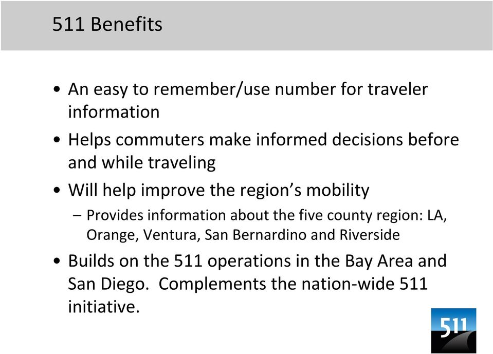 information about the five county region: LA, Orange, Ventura, San Bernardino and Riverside