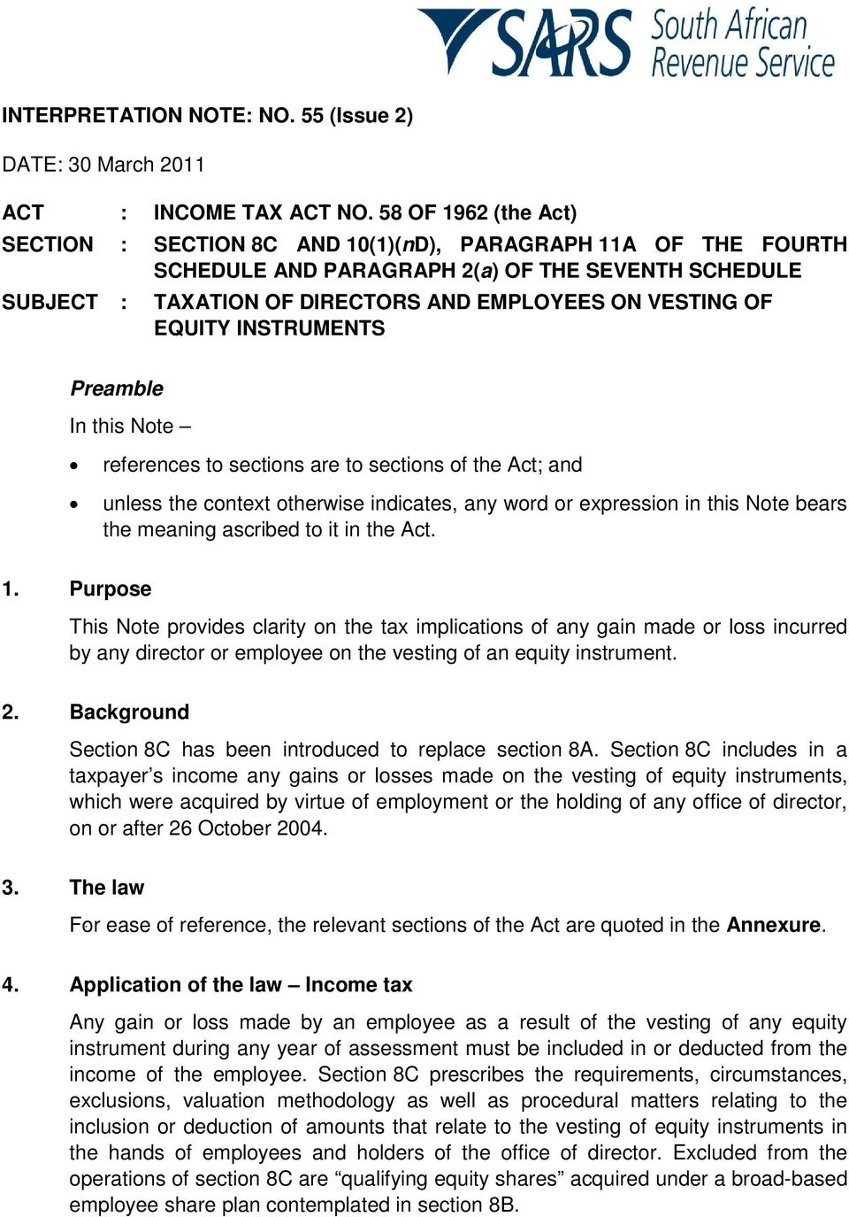 EQUITY INSTRUMENTS Preamble In this Note references to sections are to sections of the Act; and unless the context otherwise indicates, any word or expression in this Note bears the meaning ascribed