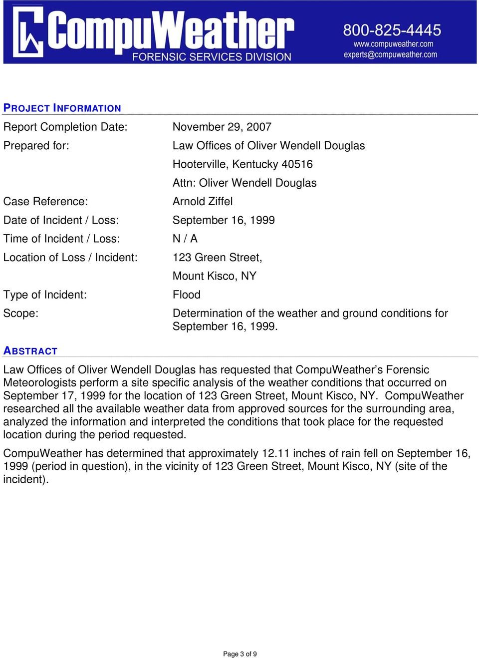 of the weather and ground conditions for September 16, 1999.