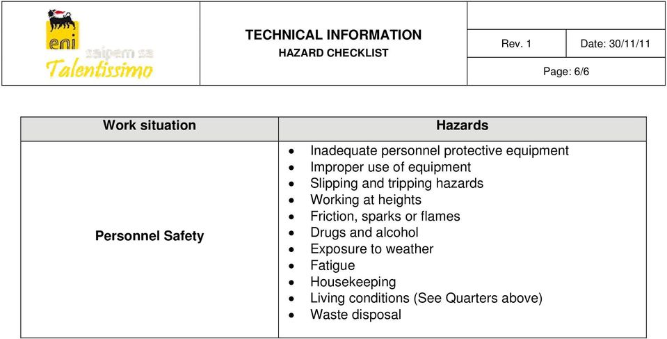 heights Friction, sparks or flames Drugs and alcohol Exposure to