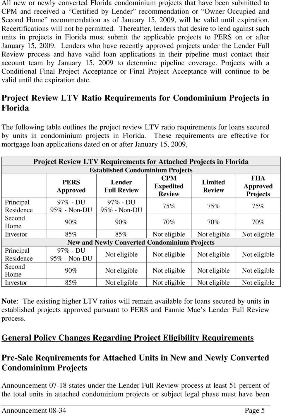 Thereafter, lenders that desire to lend against such units in projects in Florida must submit the applicable projects to PERS on or after January 15, 2009.