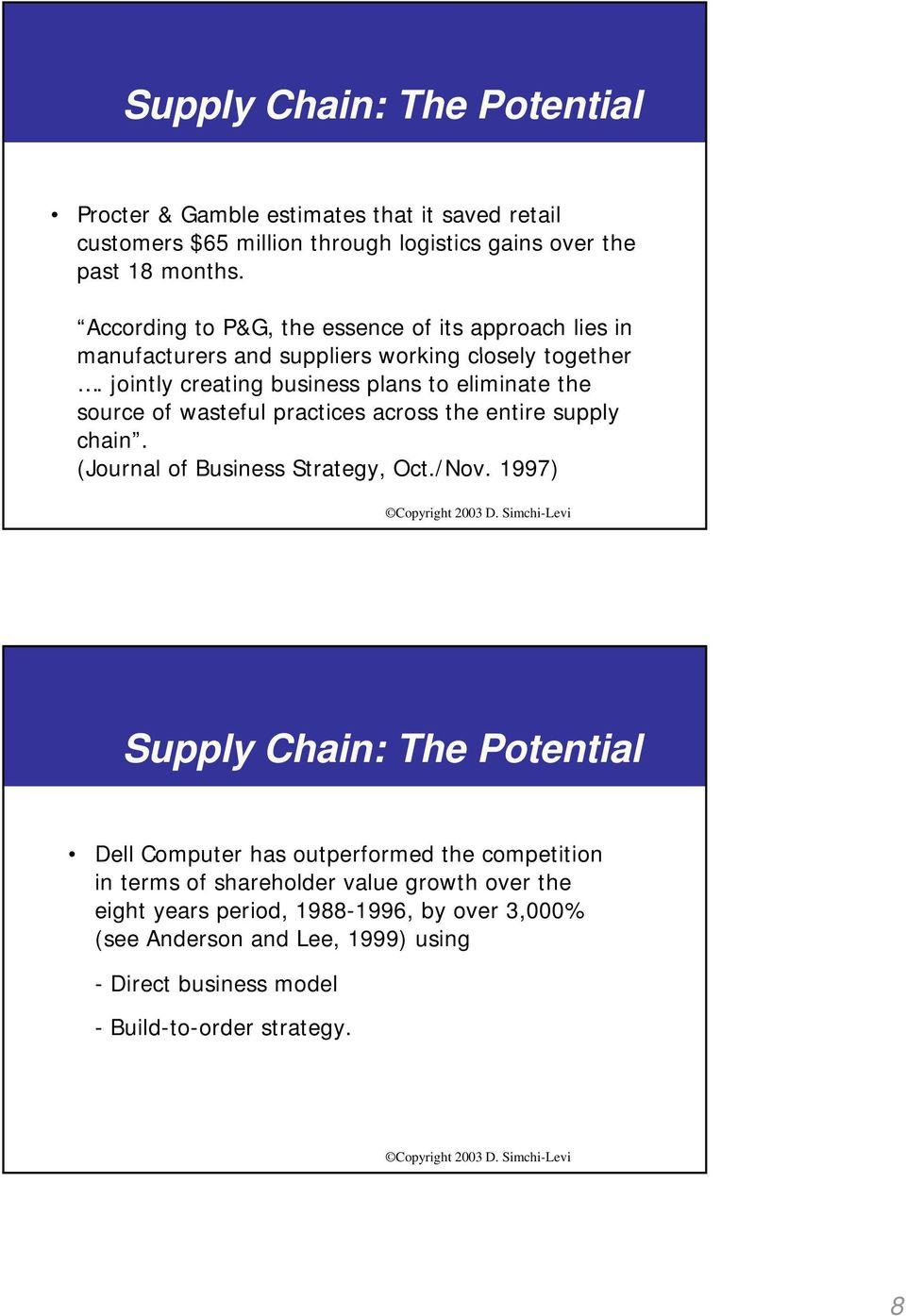 jointly creating business plans to eliminate the source of wasteful practices across the entire supply chain. (Journal of Business Strategy, Oct./Nov.