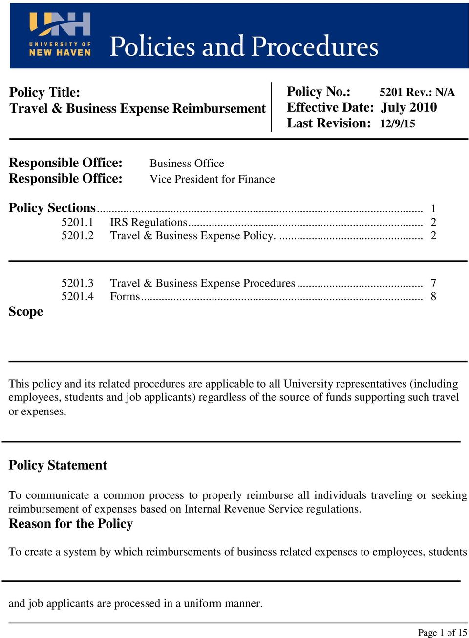 3 Travel & Business Expense Procedures... 7 5201.4 Forms.