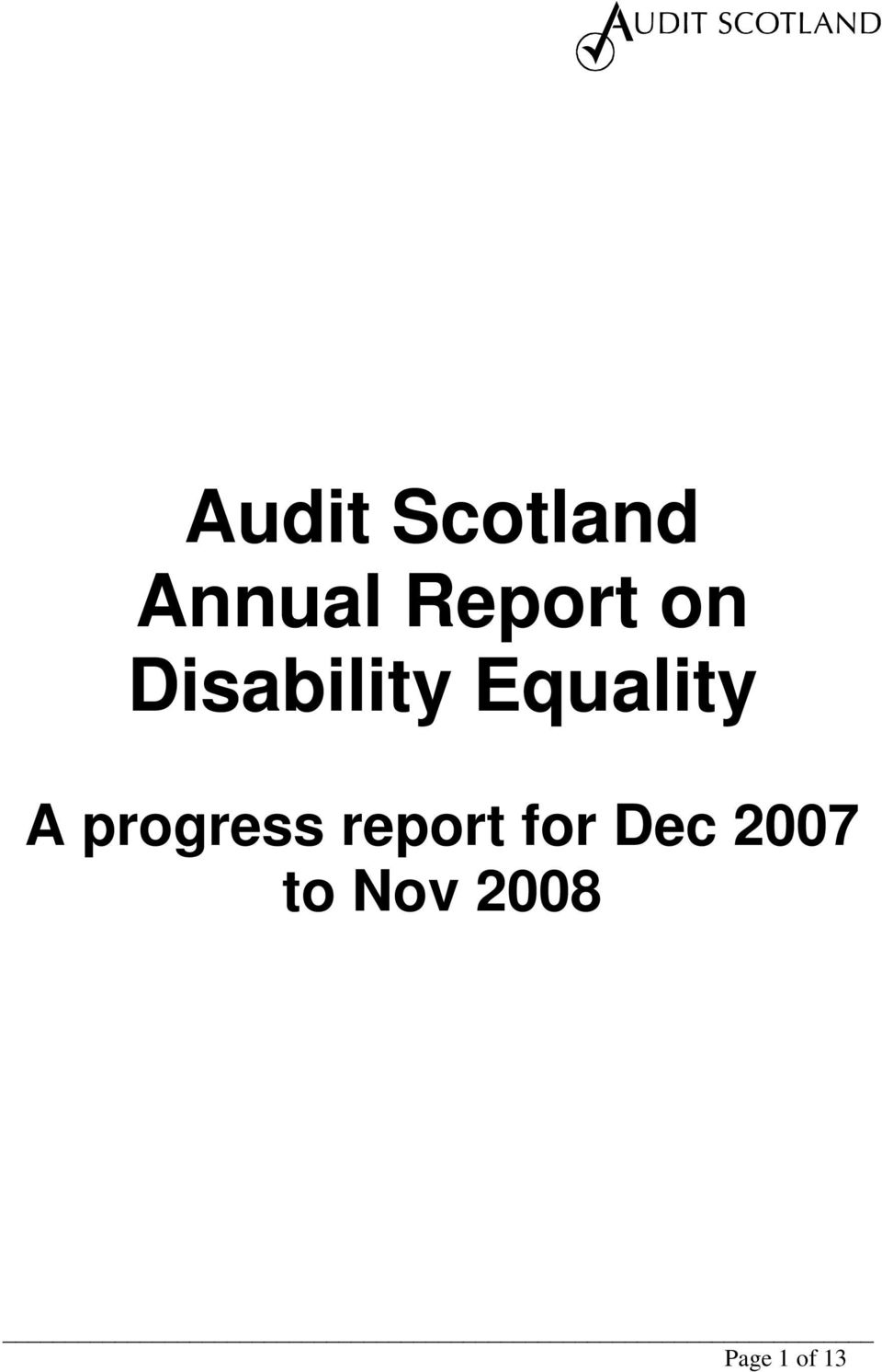 Equality A progress report