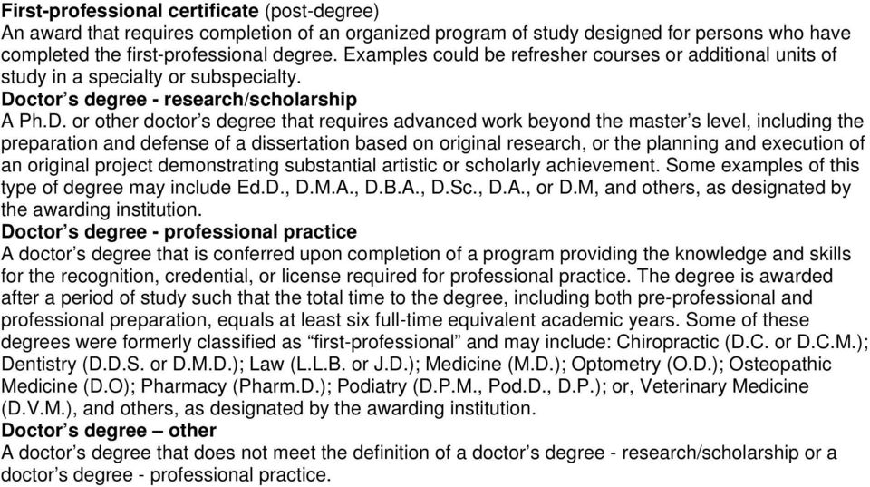 ctor s degree - research/scholarship A Ph.D.