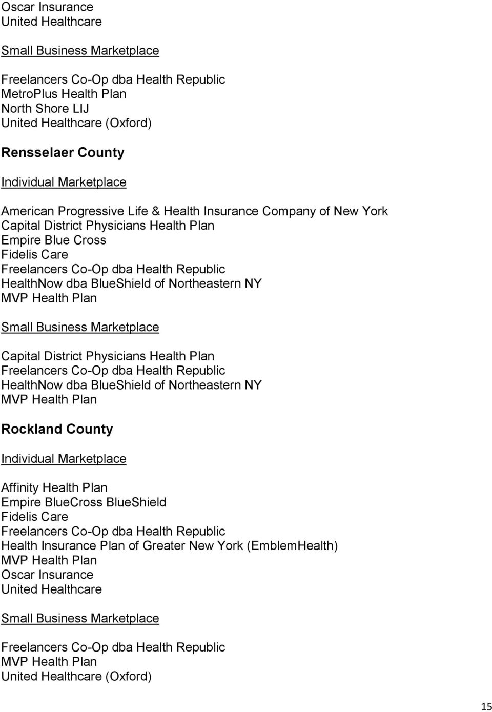 County Affinity Health Plan Health Insurance Plan
