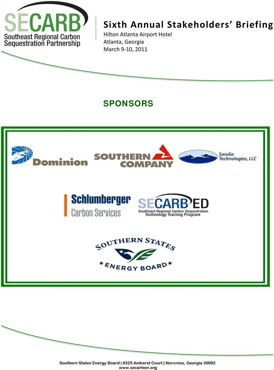 10, 2011 SPONSORS Southern States Energy Board