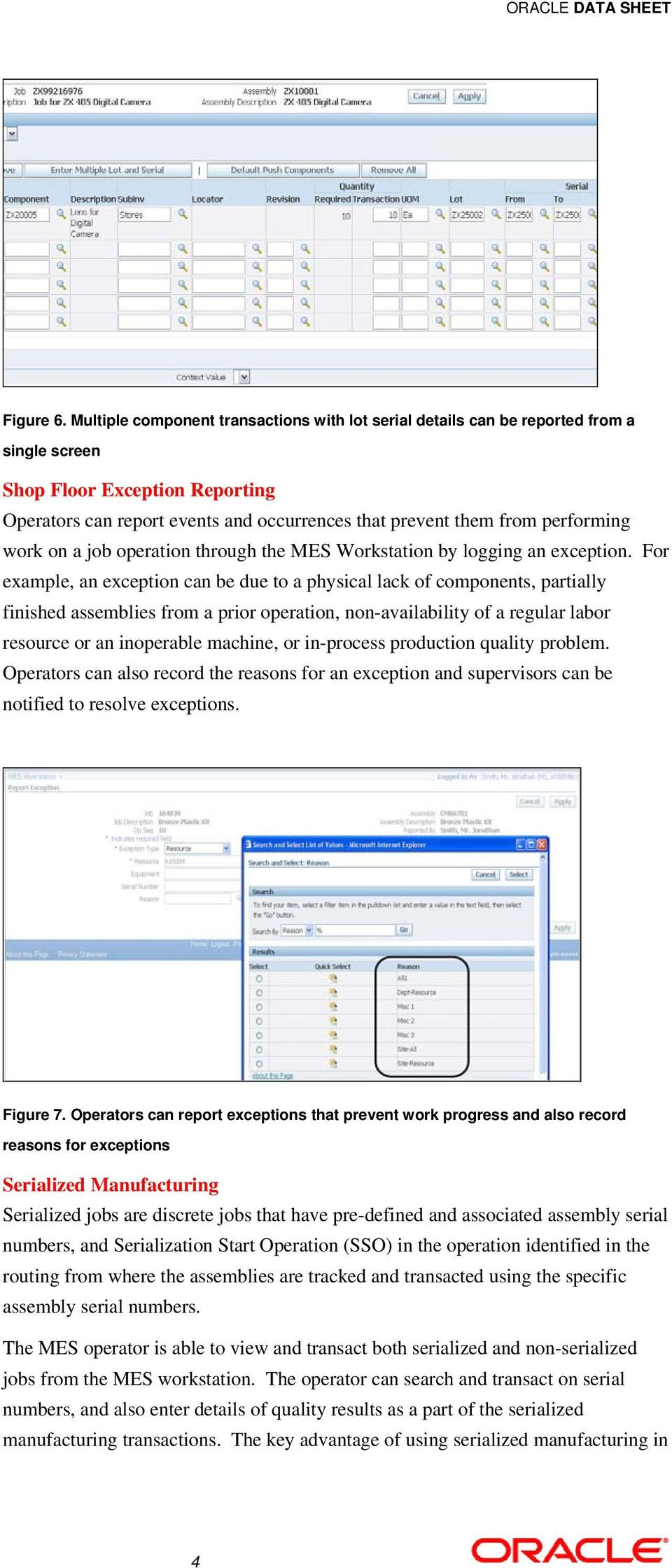 performing work on a job operation through the MES Workstation by logging an exception.