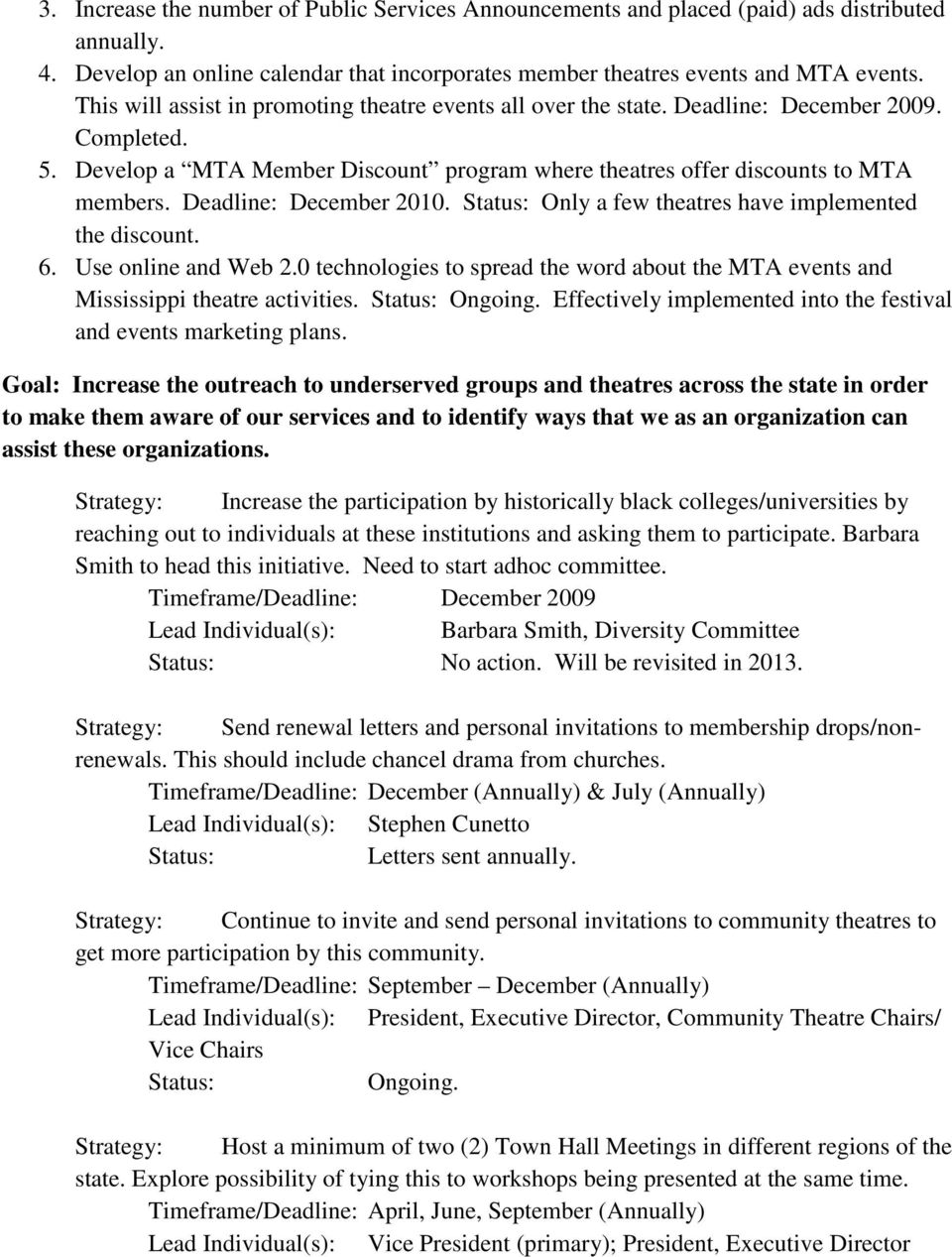 Deadline: December 2010. Only a few theatres have implemented the discount. 6. Use online and Web 2.0 technologies to spread the word about the MTA events and Mississippi theatre activities. Ongoing.