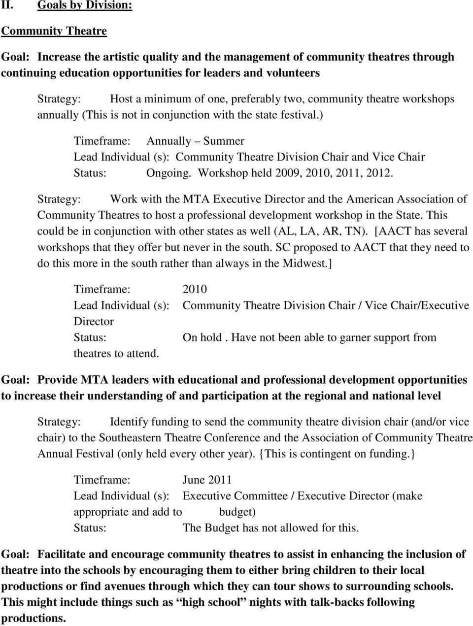 ) Timeframe: Annually Summer Community Theatre Division Chair and Vice Chair Ongoing. Workshop held 2009, 2010, 2011, 2012.