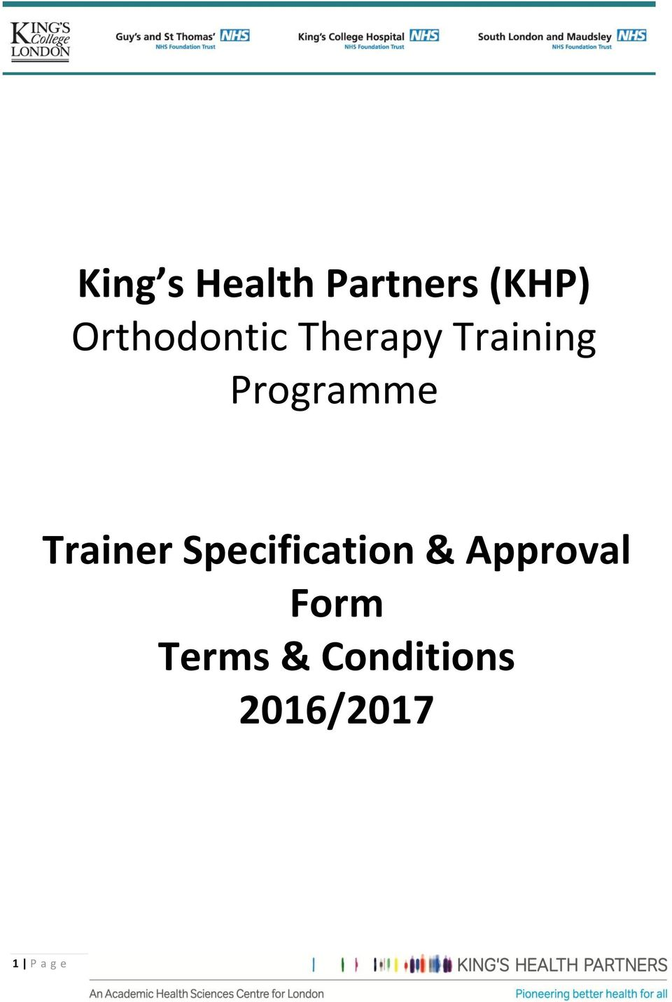 Programme Trainer Specification &