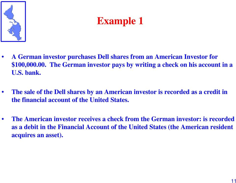 The sale of the Dell shares by an American investor is recorded as a credit in the financial account of the United
