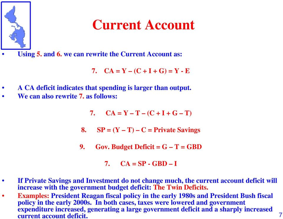 CA = SP - GBD I If Private Savings and Investment do not change much, the current account deficit will increase with the government budget deficit: The Twin Deficits.