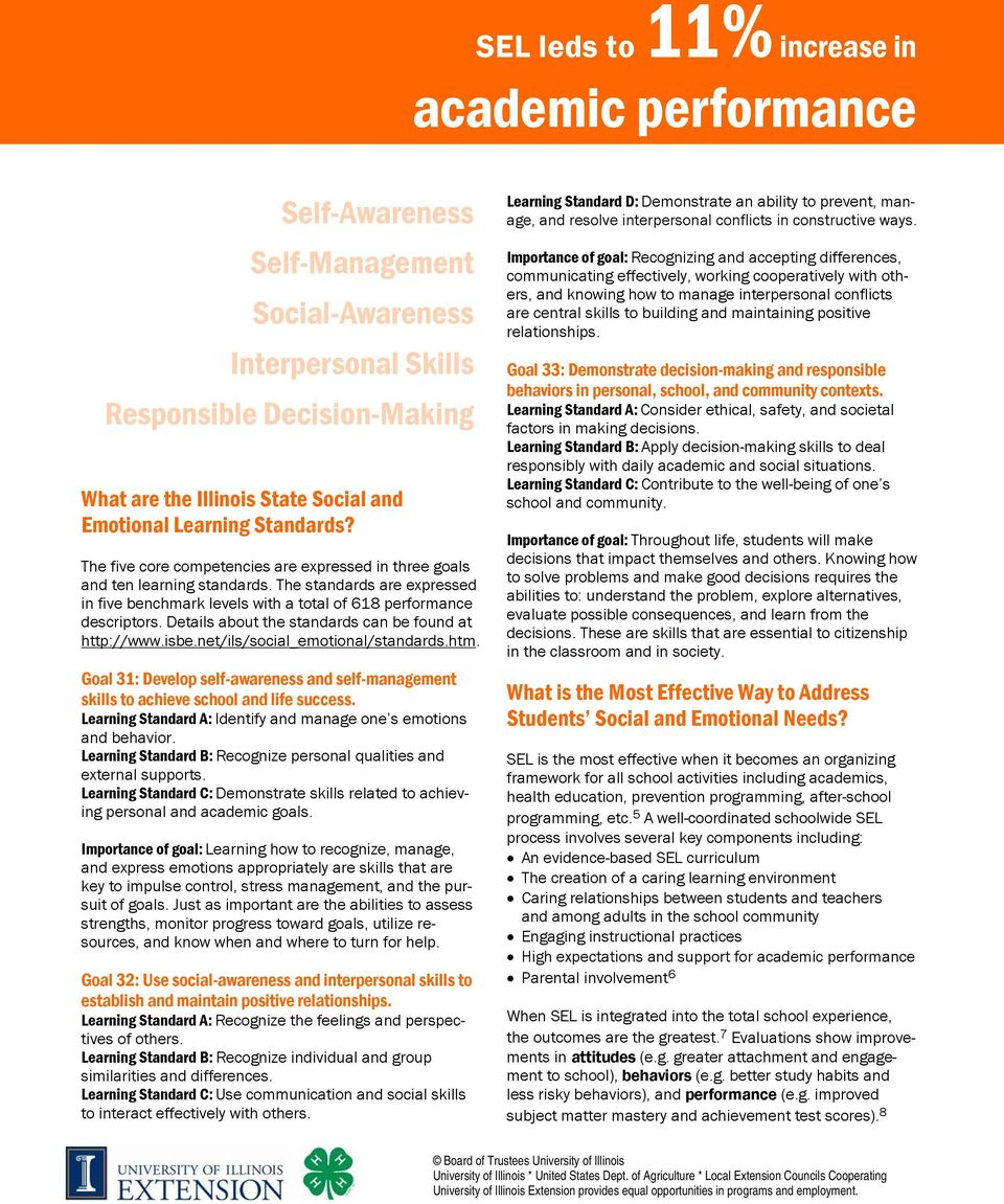 The standards are expressed in five benchmark levels with a total of 618 performance descriptors. Details about the standards can be found at http://www.isbe.net/ils/social_emotional/standards.htm.