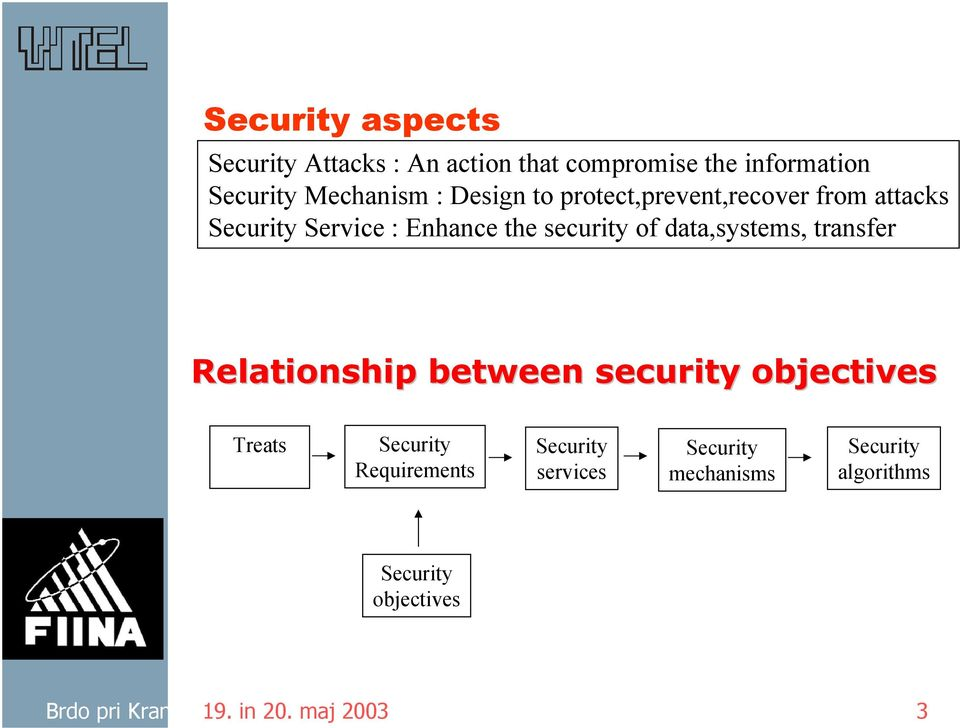 data,systems, transfer Relationship between security objectives Treats