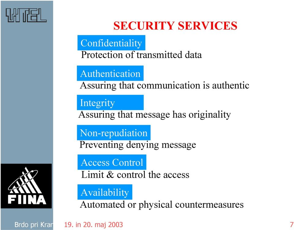 originality Non-repudiation Preventing denying message Access Control Limit & control