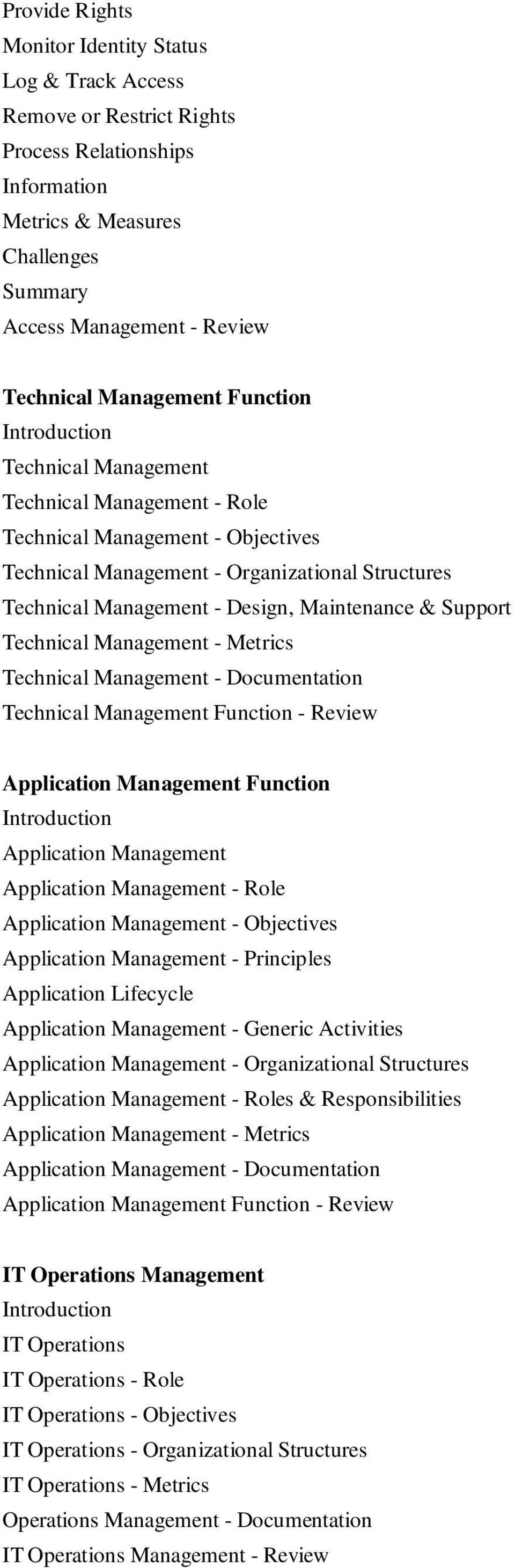 Technical Management Function - Review Application Management Function Application Management Application Management - Role Application Management - s Application Management - Principles Application