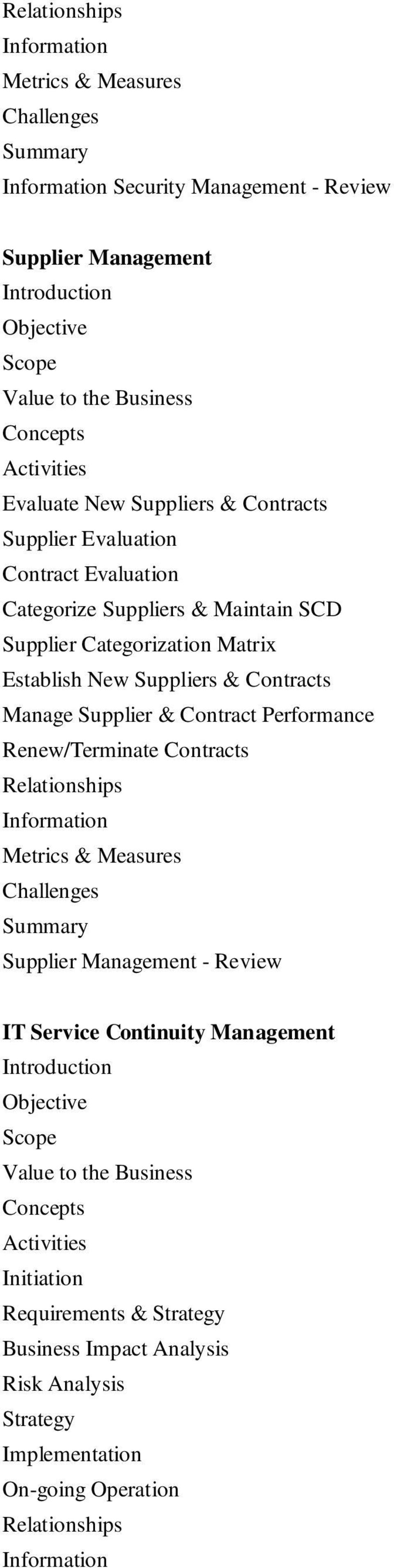 Manage Supplier & Contract Performance Renew/Terminate Contracts Supplier Management - Review IT Service Continuity