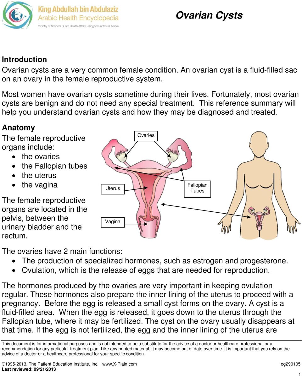 This reference summary will help you understand ovarian cysts and how they may be diagnosed and treated.