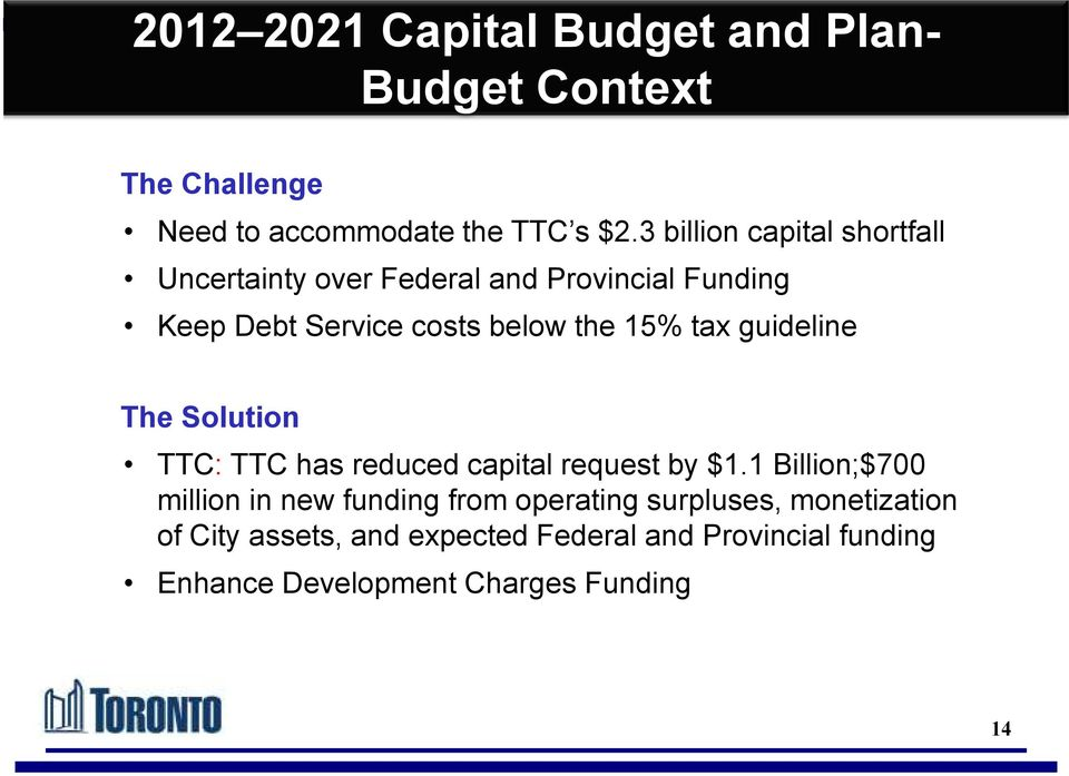 tax guideline The Solution TTC: TTC has reduced capital request by $1.