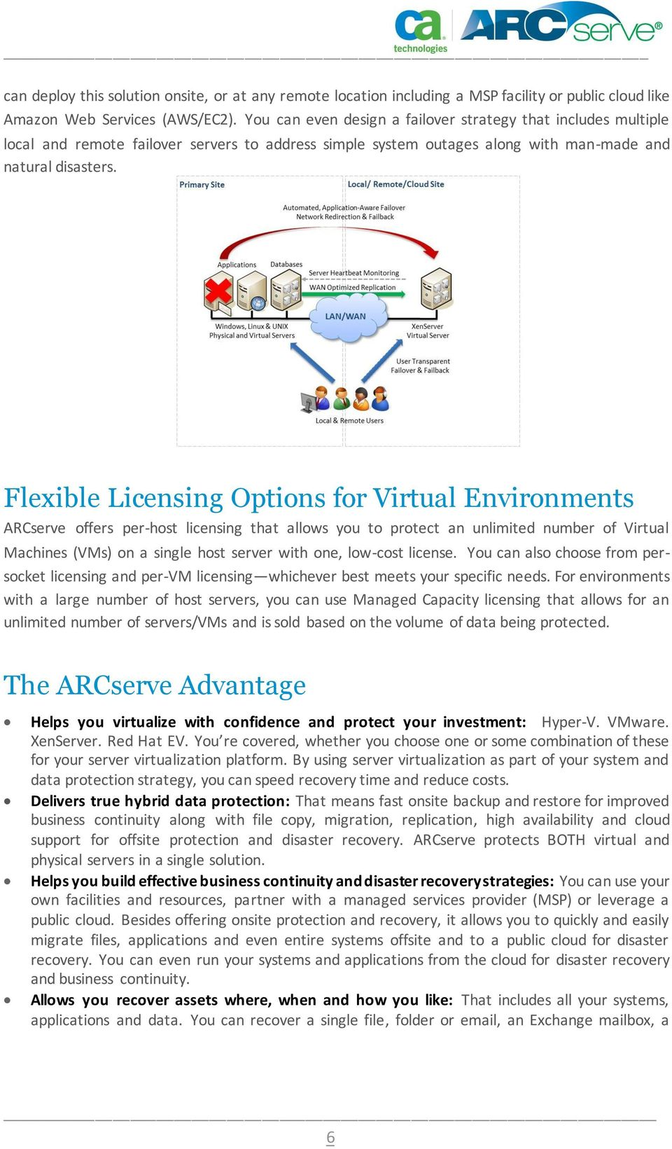 Flexible Licensing Options for Virtual Environments ARCserve offers per-host licensing that allows you to protect an unlimited number of Virtual Machines (VMs) on a single host server with one,