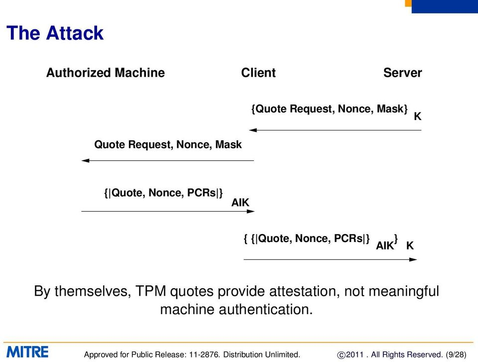 themselves, TPM quotes provide attestation, not meaningful machine authentication.