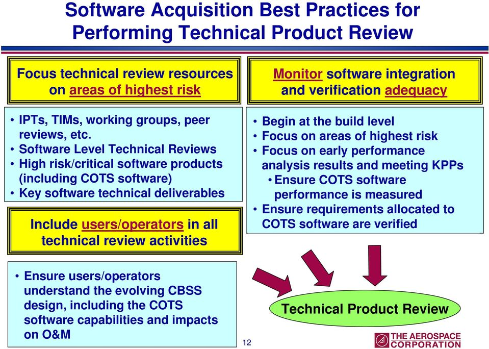 software integration and verification adequacy Begin at the build level Focus on areas of highest risk Focus on early performance analysis results and meeting KPPs Ensure COTS software performance