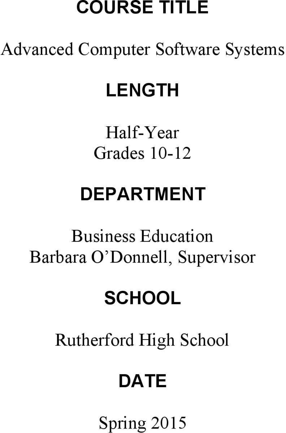 DEPARTMENT Business Education Barbara O