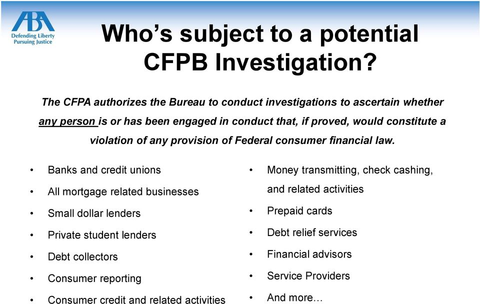 constitute a violation of any provision of Federal consumer financial law.
