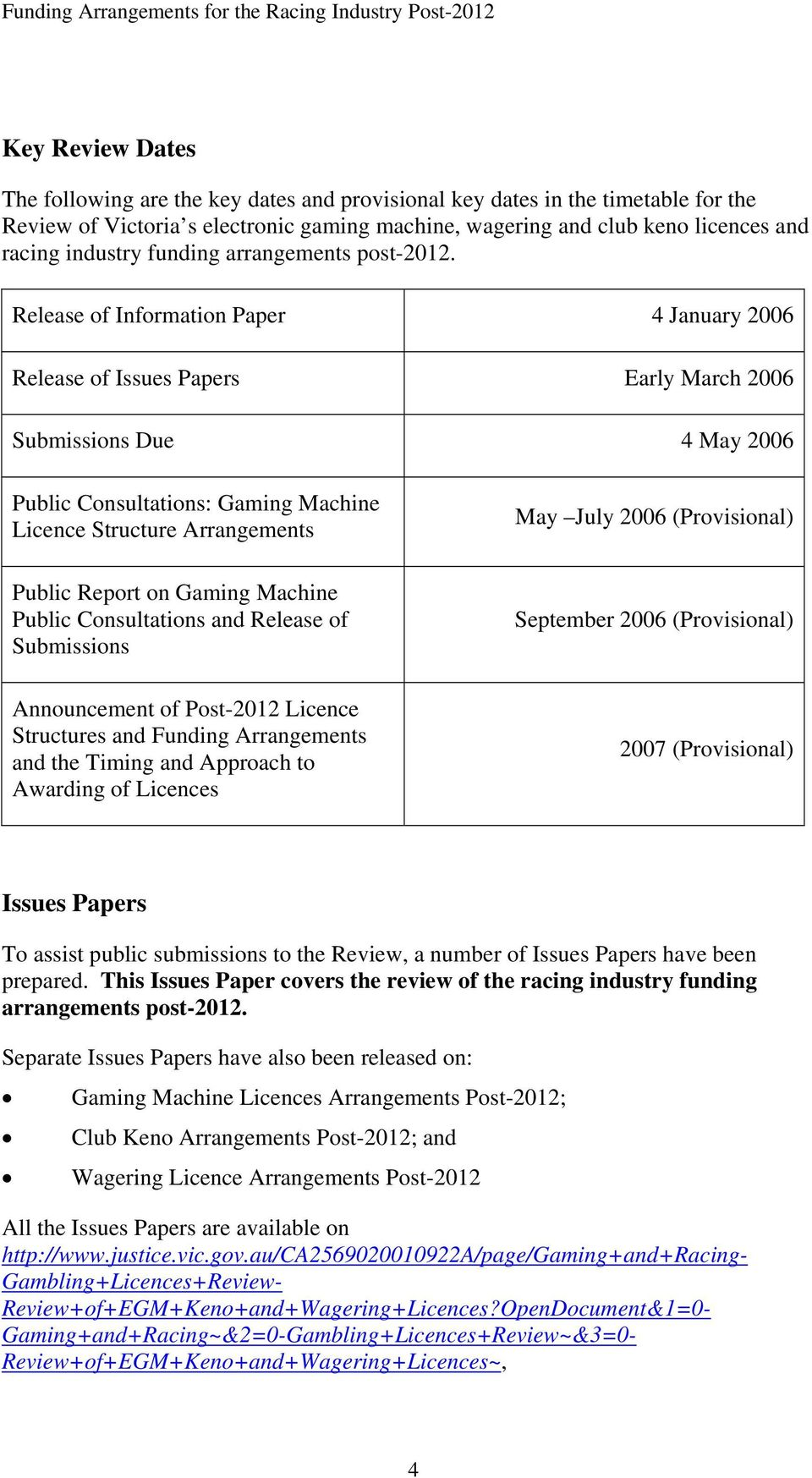 Release of Information Paper 4 January 2006 Release of Issues Papers Early March 2006 Submissions Due 4 May 2006 Public Consultations: Gaming Machine Licence Structure Arrangements Public Report on