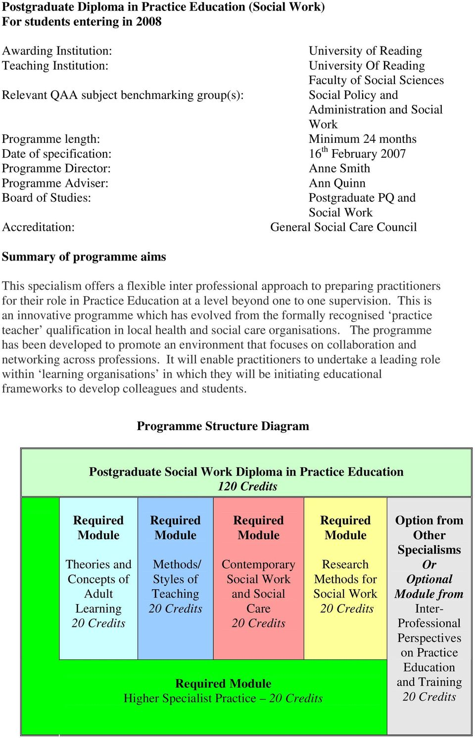 Programme Adviser: Ann Quinn Board of Studies: Postgraduate PQ and Social Work Accreditation: General Social Care Council Summary of programme aims This specialism offers a flexible inter