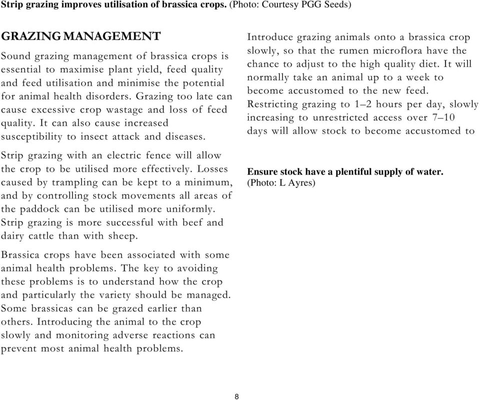 health disorders. Grazing too late can cause excessive crop wastage and loss of feed quality. It can also cause increased susceptibility to insect attack and diseases.