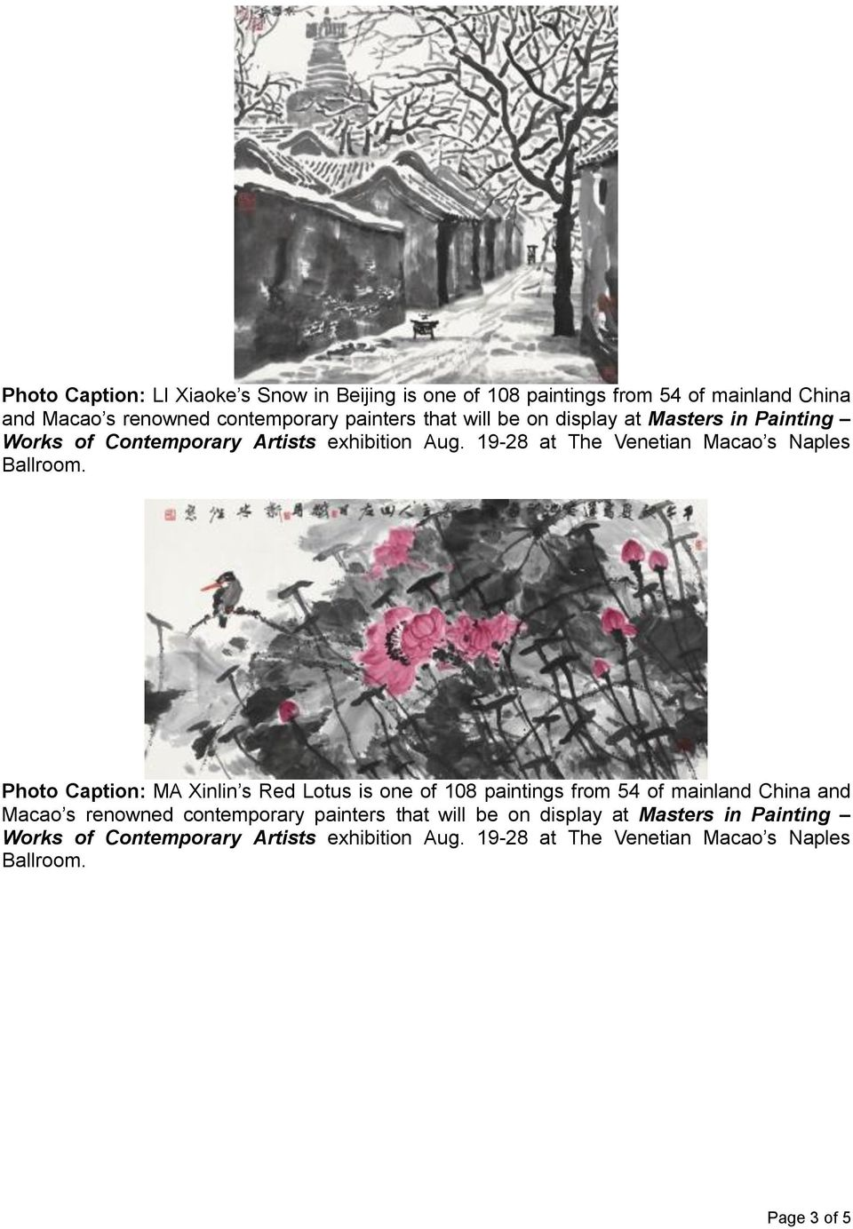 Photo Caption: MA Xinlin s Red Lotus is one of 108 paintings from 54 of mainland China  Page