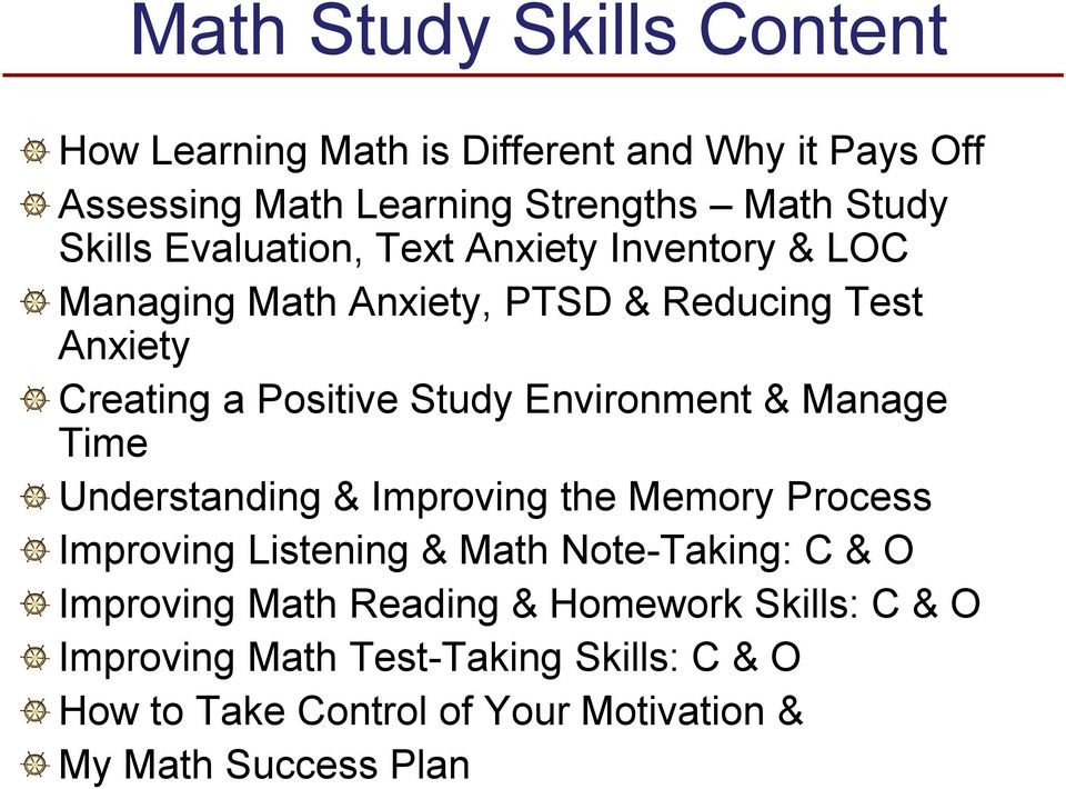 Environment & Manage Time Understanding & Improving the Memory Process Improving Listening & Math Note-Taking: C & O Improving