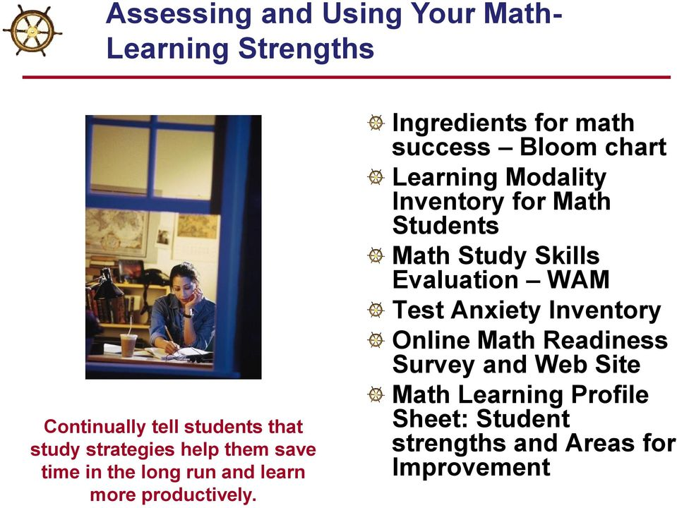 Ingredients for math success Bloom chart Learning Modality Inventory for Math Students Math Study Skills