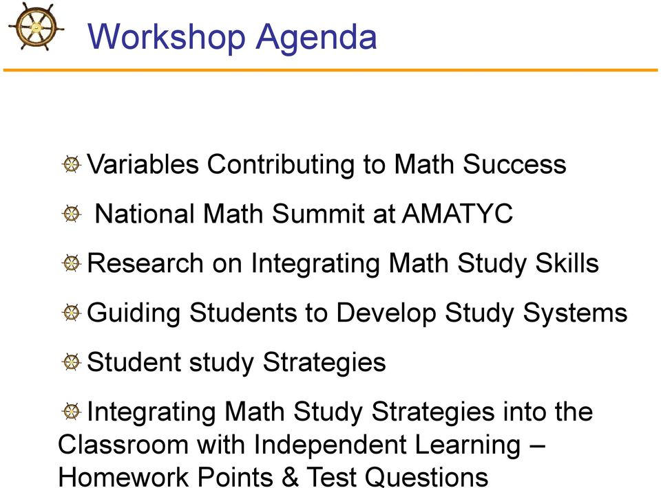 Develop Study Systems Student study Strategies Integrating Math Study