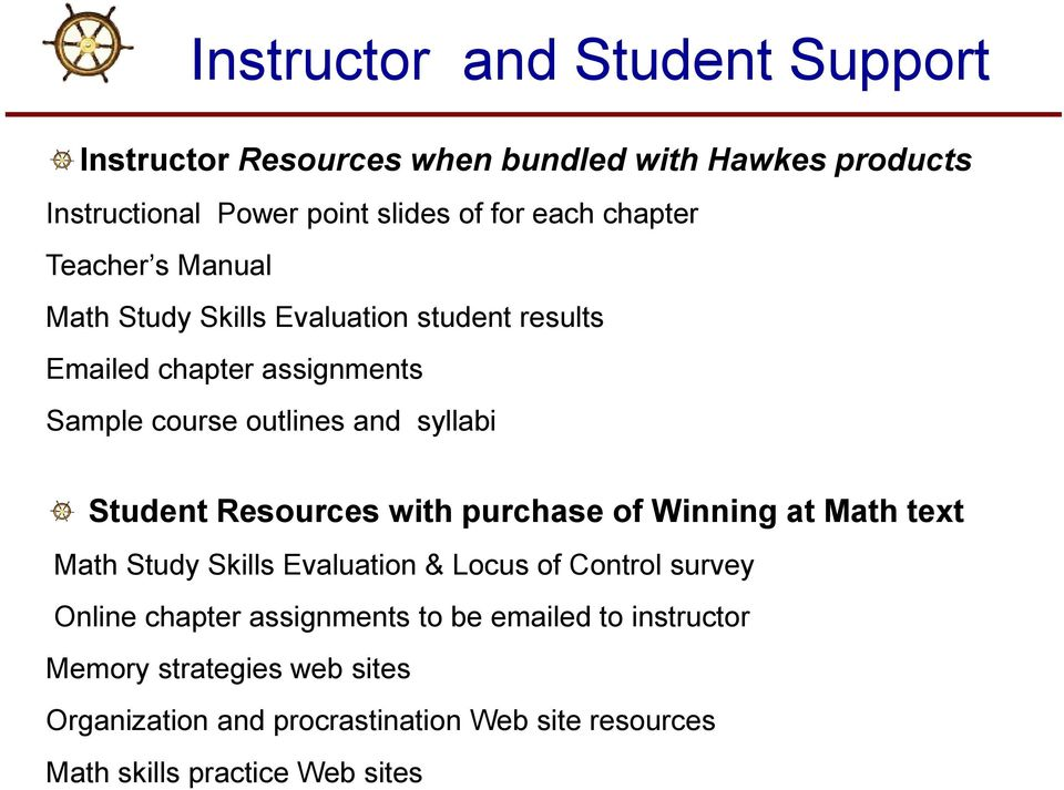 Student Resources with purchase of Winning at Math text Math Study Skills Evaluation & Locus of Control survey Online chapter