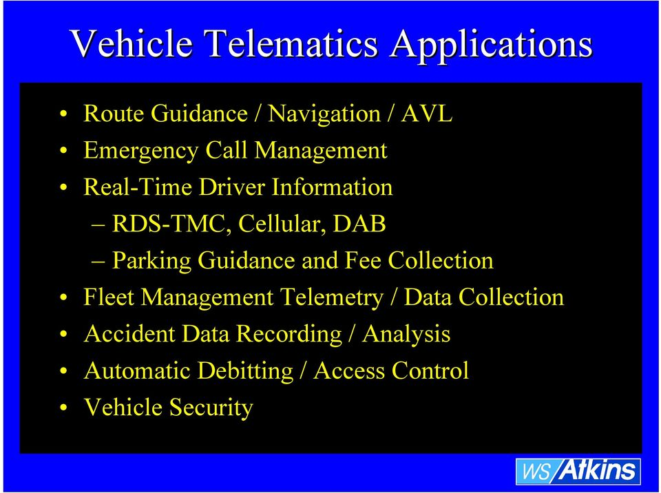 Guidance and Fee Collection Fleet Management Telemetry / Data Collection