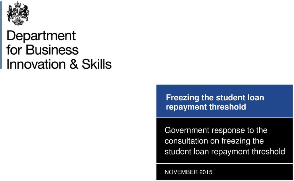 consultation on freezing the student