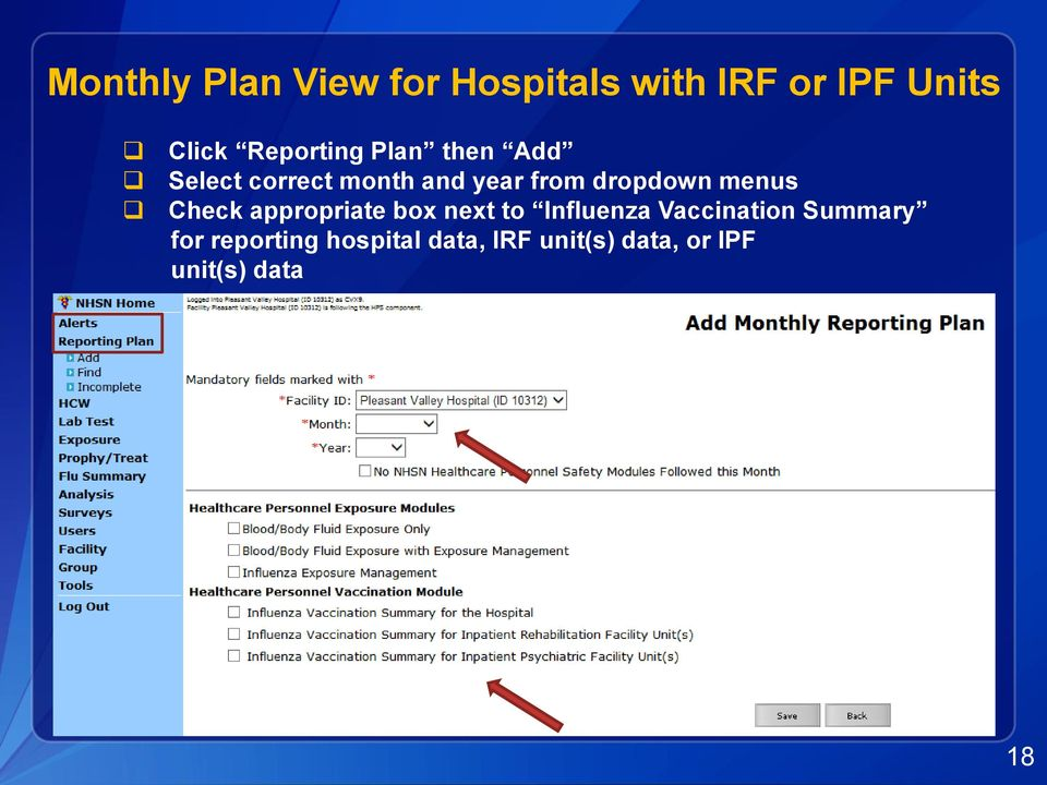 dropdown menus Check appropriate box next to Influenza